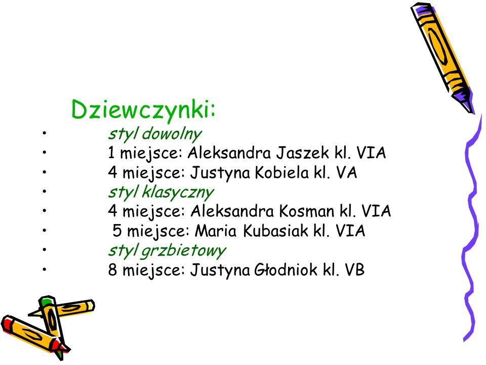Dziewczynki: styl dowolny. 1 miejsce: Aleksandra Jaszek kl. VIA. 4 miejsce: Justyna Kobiela kl. VA.
