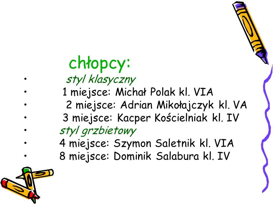 chłopcy: styl klasyczny 1 miejsce: Michał Polak kl. VIA