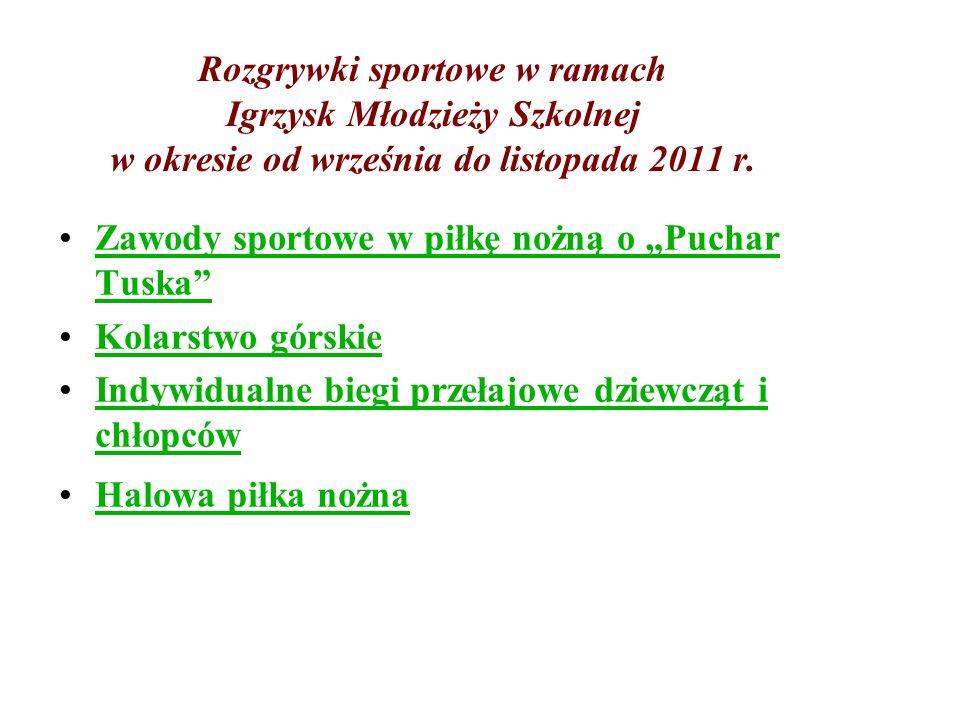 Rozgrywki sportowe w ramach Igrzysk Młodzieży Szkolnej w okresie od września do listopada 2011 r.