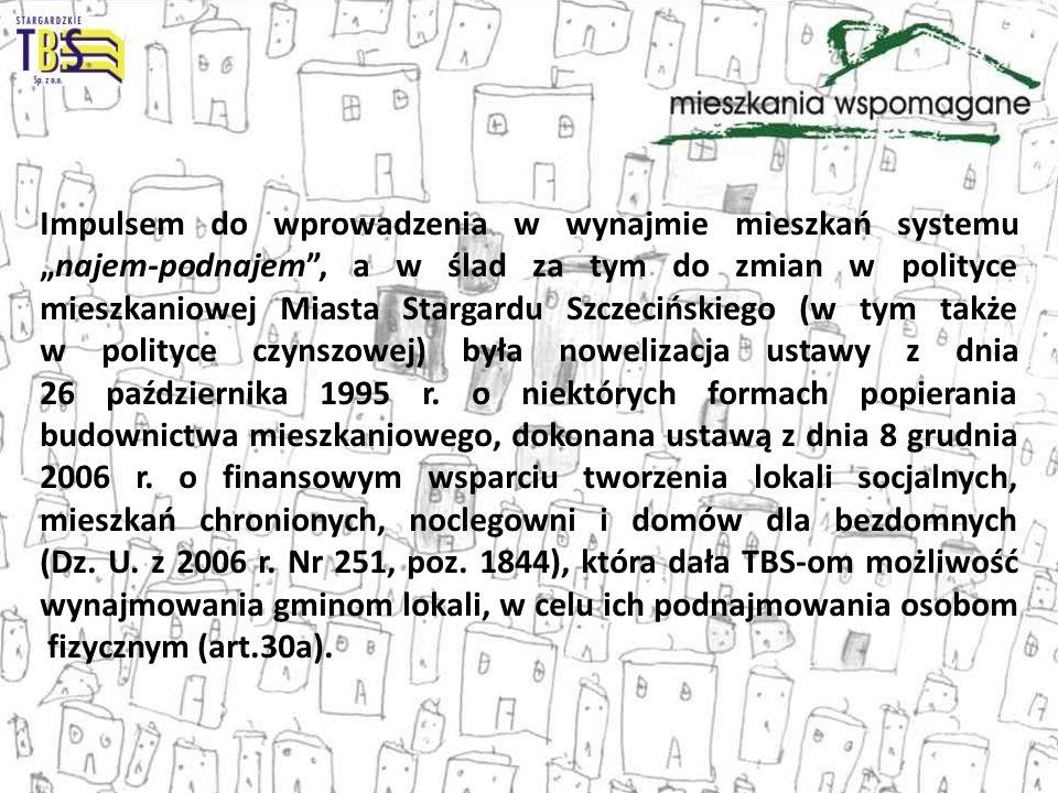"""Impulsem do wprowadzenia w wynajmie mieszkań systemu """"najem-podnajem , a w ślad za tym do zmian w polityce mieszkaniowej Miasta Stargardu Szczecińskiego (w tym także w polityce czynszowej) była nowelizacja ustawy z dnia 26 października 1995 r."""