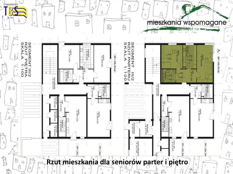 Rzut mieszkania dla seniorów parter i piętro