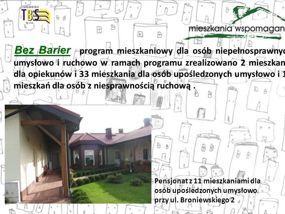 Bez Barier program mieszkaniowy dla osób niepełnosprawnych umysłowo i ruchowo w ramach programu zrealizowano 2 mieszkania dla opiekunów i 33 mieszkania dla osób upośledzonych umysłowo i 16 mieszkań dla osób z niesprawnością ruchową .