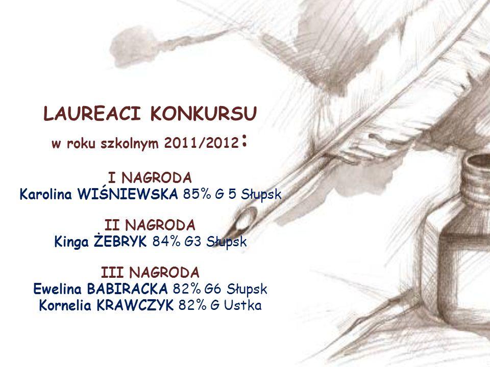 LAUREACI KONKURSU w roku szkolnym 2011/2012: I NAGRODA