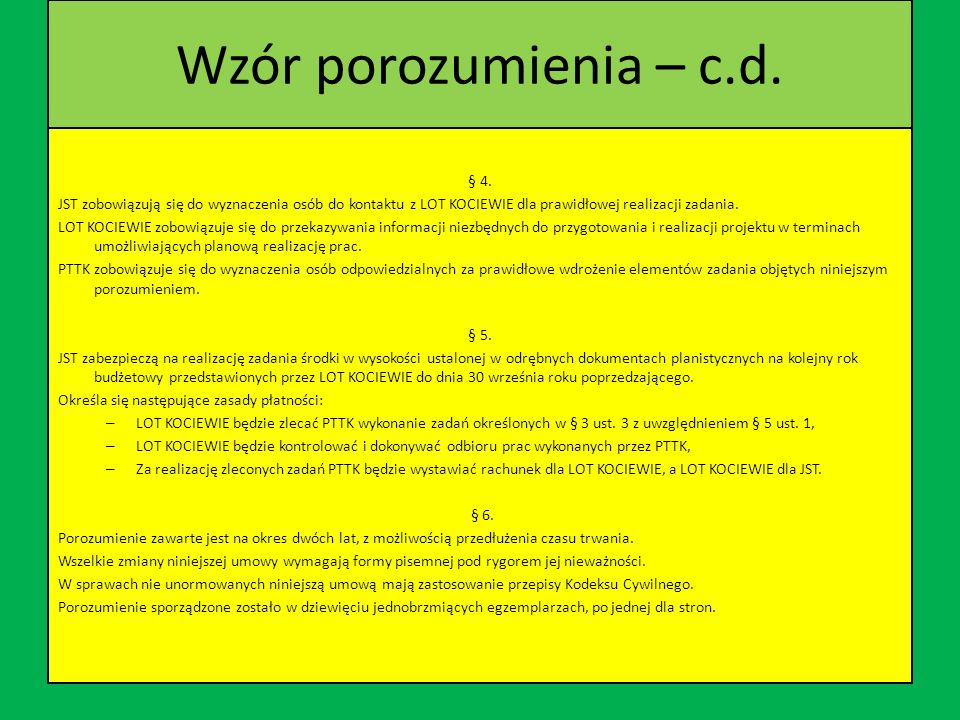 Wzór porozumienia – c.d. § 4.