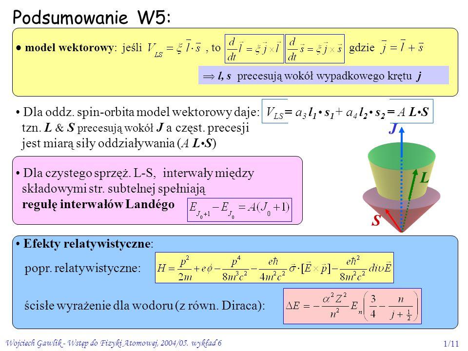 Podsumowanie W5: J L S  model wektorowy: jeśli , to gdzie