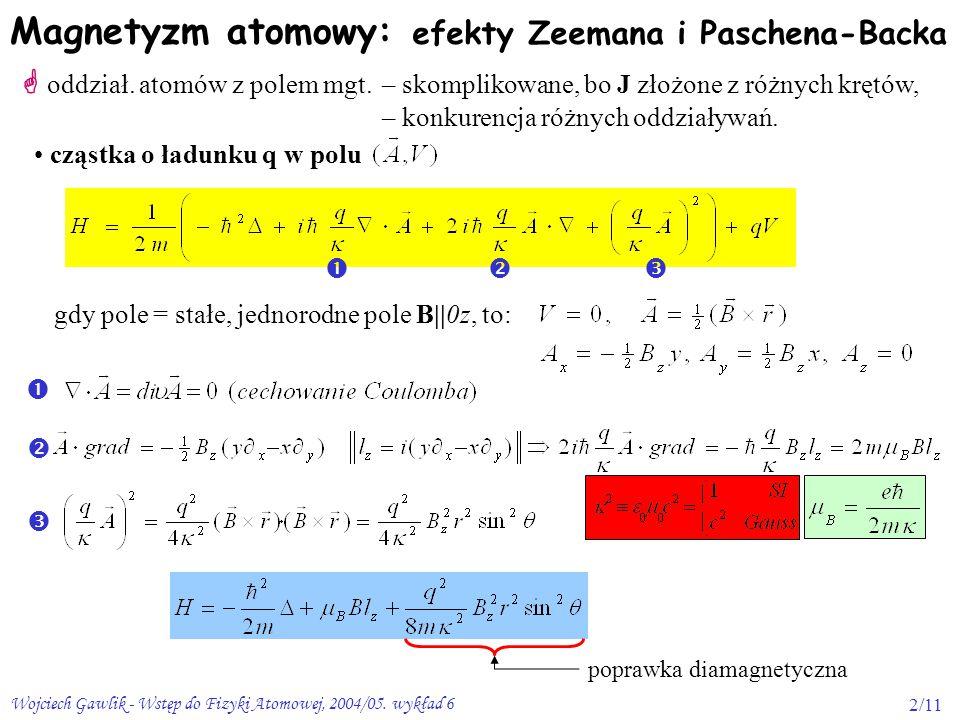 Magnetyzm atomowy: efekty Zeemana i Paschena-Backa