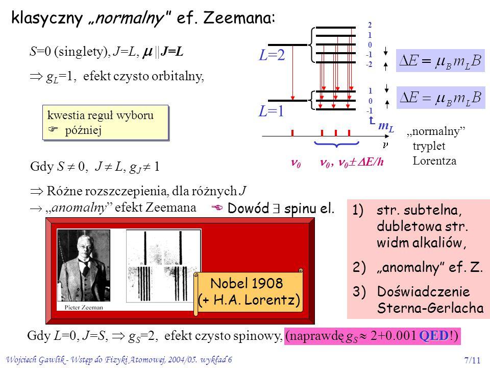 """klasyczny """"normalny ef. Zeemana:"""