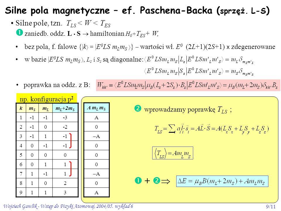 Silne pola magnetyczne – ef. Paschena-Backa (sprzęż. L-S)