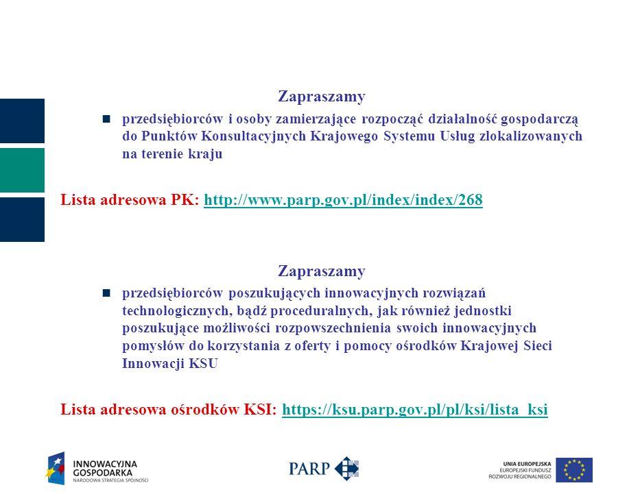 Lista adresowa PK: http://www.parp.gov.pl/index/index/268