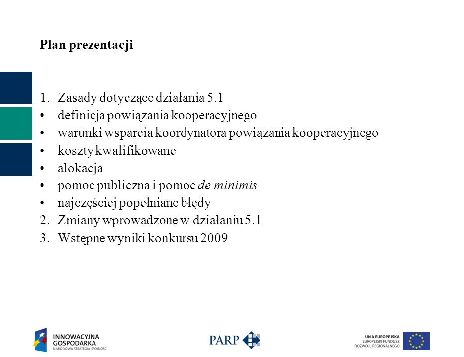 Plan prezentacji Zasady dotyczące działania 5.1. definicja powiązania kooperacyjnego. warunki wsparcia koordynatora powiązania kooperacyjnego.