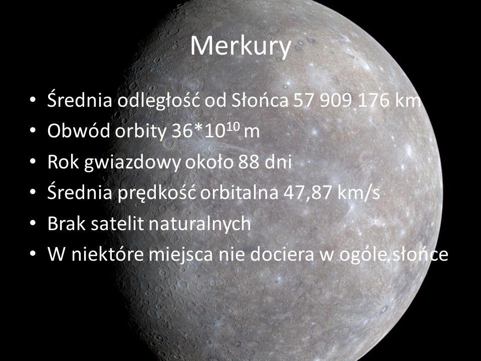 Merkury Średnia odległość od Słońca 57 909 176 km