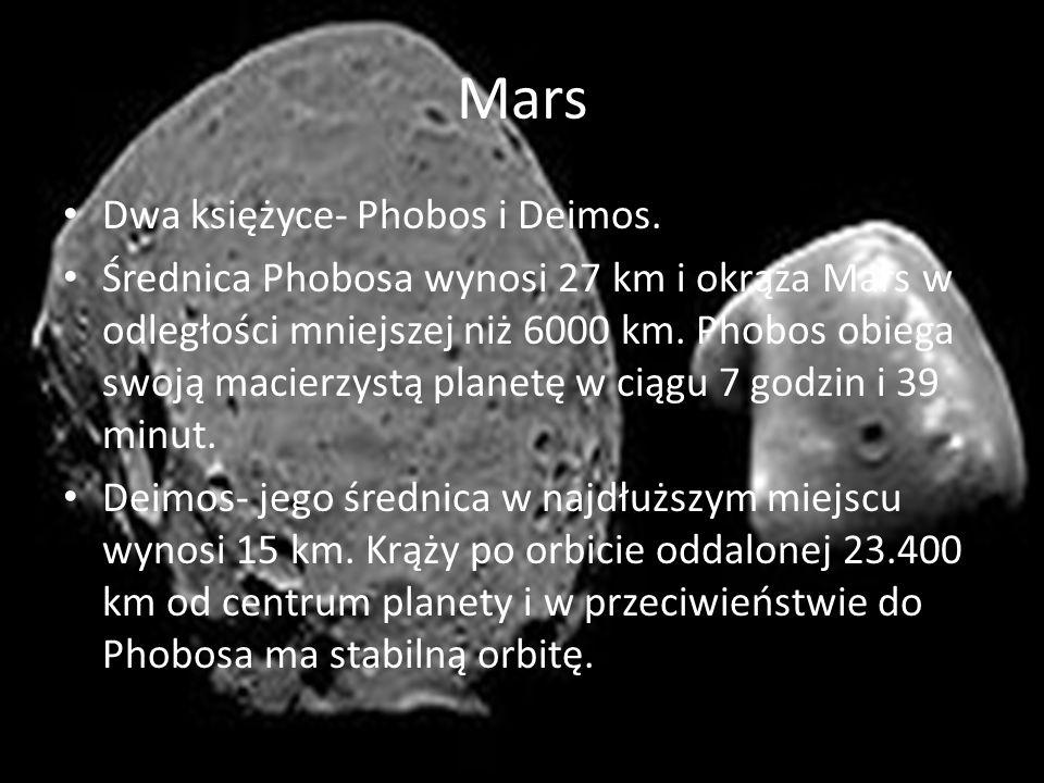 Mars Dwa księżyce- Phobos i Deimos.