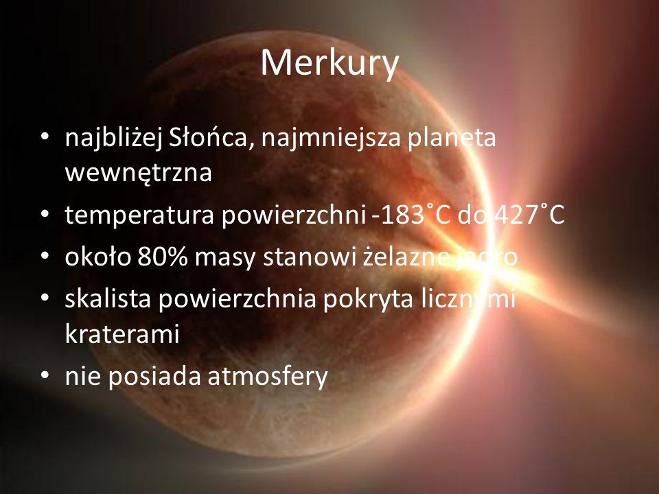 Merkury najbliżej Słońca, najmniejsza planeta wewnętrzna