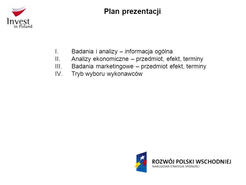 Plan prezentacji Badania i analizy – informacja ogólna