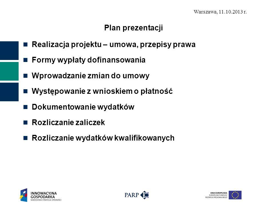 Plan prezentacji Realizacja projektu – umowa, przepisy prawa. Formy wypłaty dofinansowania. Wprowadzanie zmian do umowy.