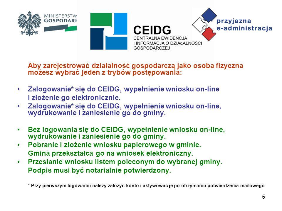 Zalogowanie* się do CEIDG, wypełnienie wniosku on-line