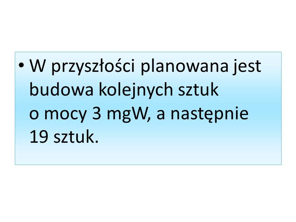 W przyszłości planowana jest budowa kolejnych sztuk o mocy 3 mgW, a następnie 19 sztuk.