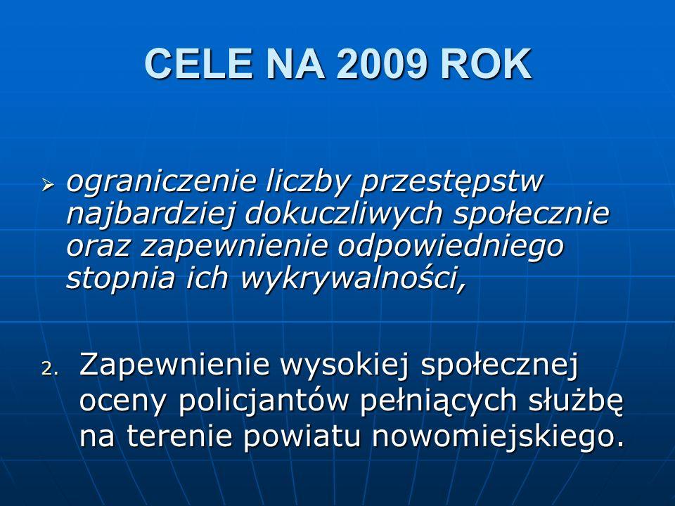 CELE NA 2009 ROK ograniczenie liczby przestępstw najbardziej dokuczliwych społecznie oraz zapewnienie odpowiedniego stopnia ich wykrywalności,