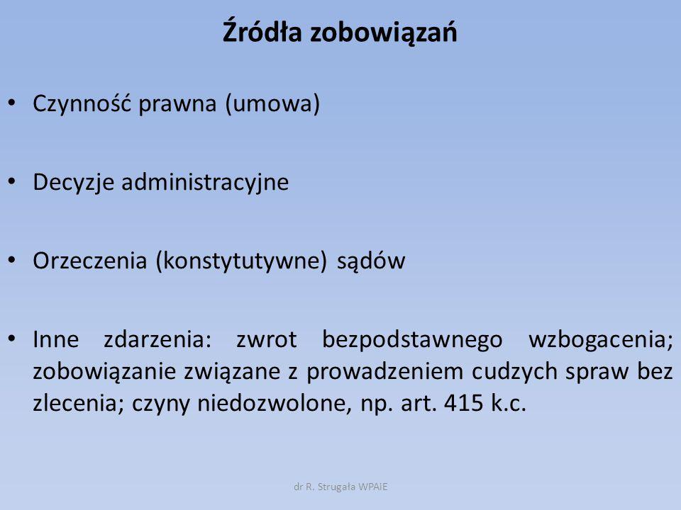 Źródła zobowiązań Czynność prawna (umowa) Decyzje administracyjne
