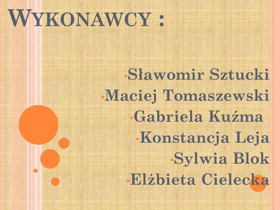 Wykonawcy : Sławomir Sztucki Maciej Tomaszewski Gabriela Kuźma
