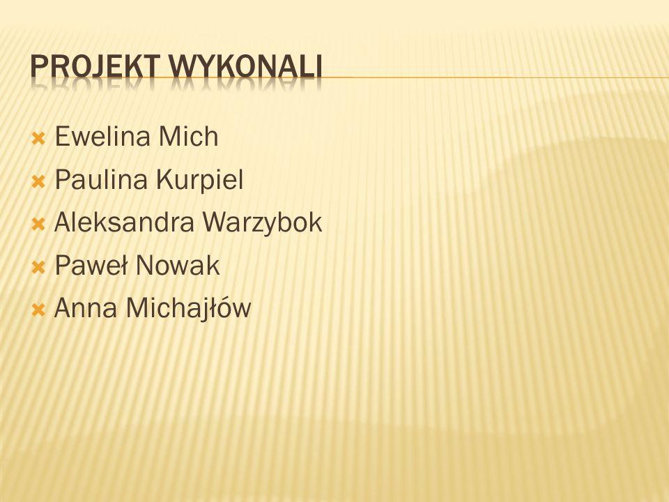 PROJEKT WYKONALI Ewelina Mich Paulina Kurpiel Aleksandra Warzybok