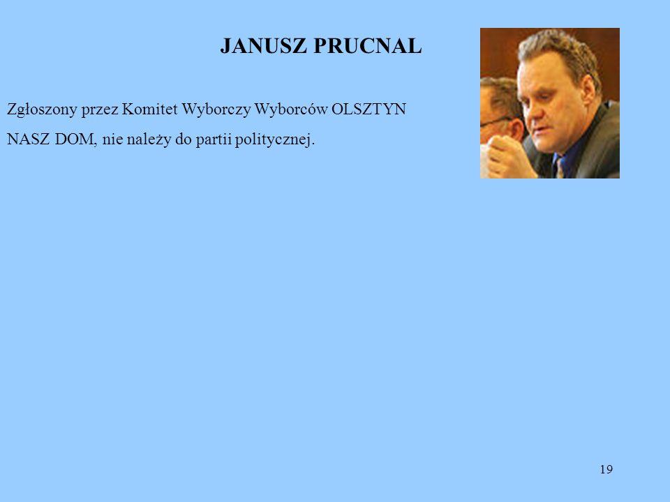 JANUSZ PRUCNAL Zgłoszony przez Komitet Wyborczy Wyborców OLSZTYN