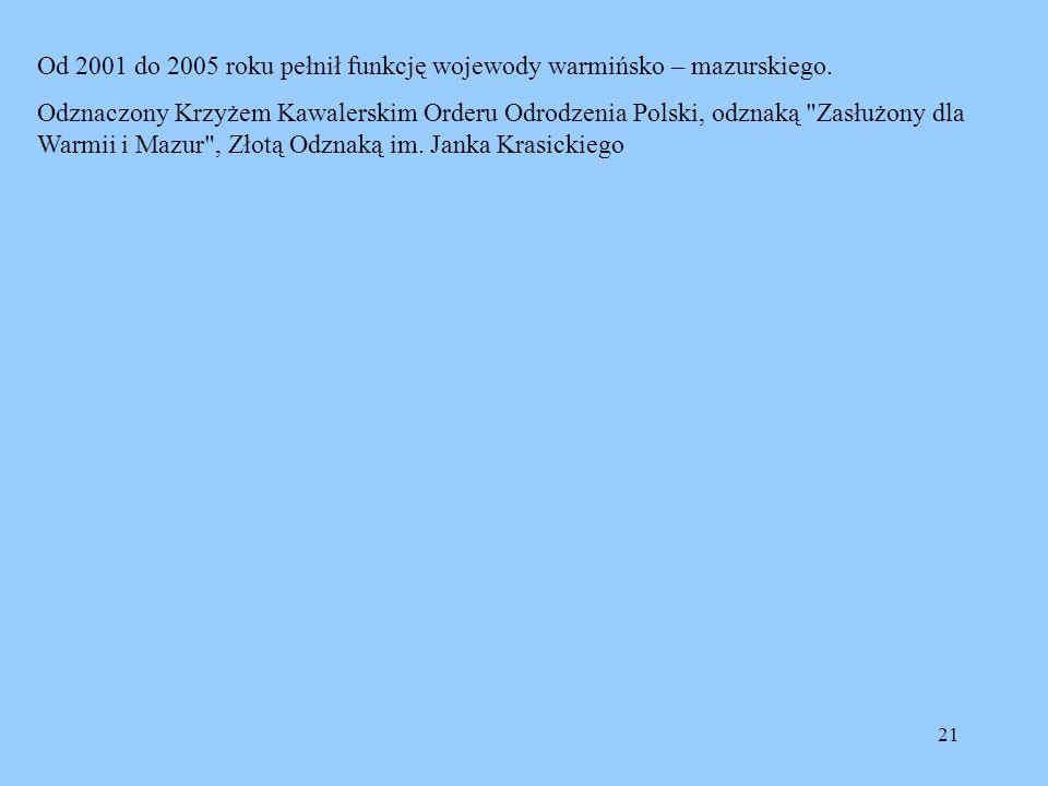 Od 2001 do 2005 roku pełnił funkcję wojewody warmińsko – mazurskiego.