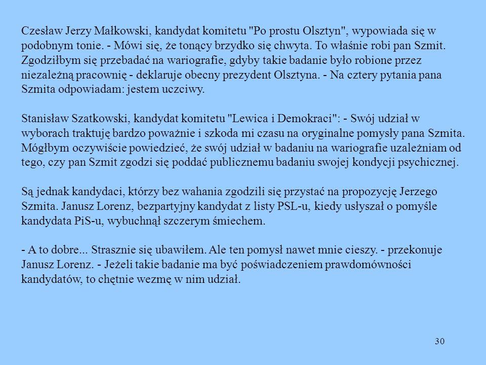 Czesław Jerzy Małkowski, kandydat komitetu Po prostu Olsztyn , wypowiada się w podobnym tonie.