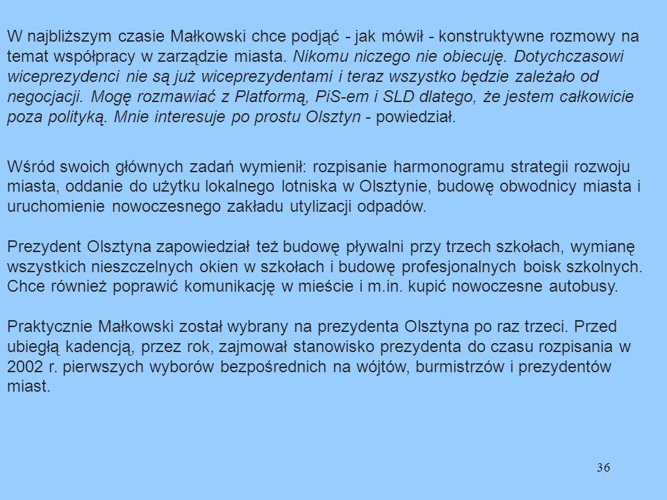 W najbliższym czasie Małkowski chce podjąć - jak mówił - konstruktywne rozmowy na temat współpracy w zarządzie miasta. Nikomu niczego nie obiecuję. Dotychczasowi wiceprezydenci nie są już wiceprezydentami i teraz wszystko będzie zależało od negocjacji. Mogę rozmawiać z Platformą, PiS-em i SLD dlatego, że jestem całkowicie poza polityką. Mnie interesuje po prostu Olsztyn - powiedział.