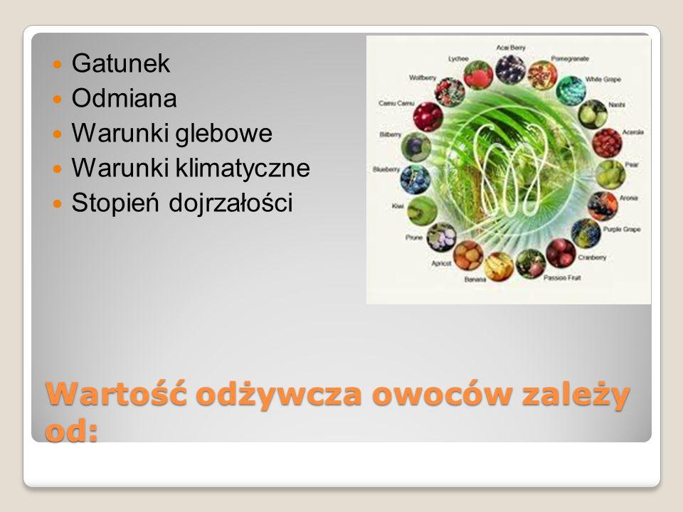 Wartość odżywcza owoców zależy od: