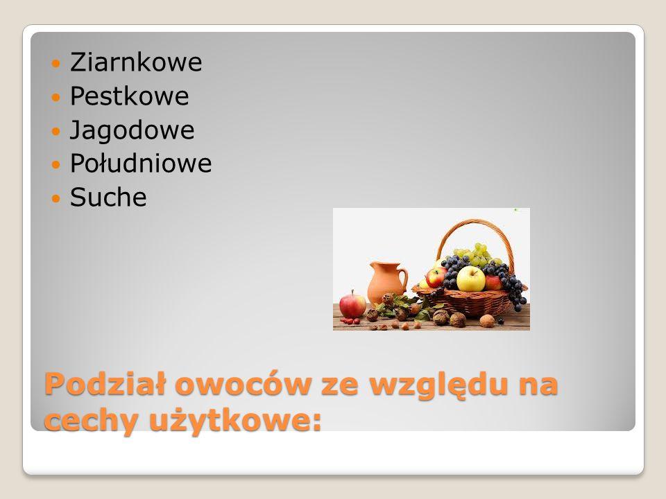 Podział owoców ze względu na cechy użytkowe: