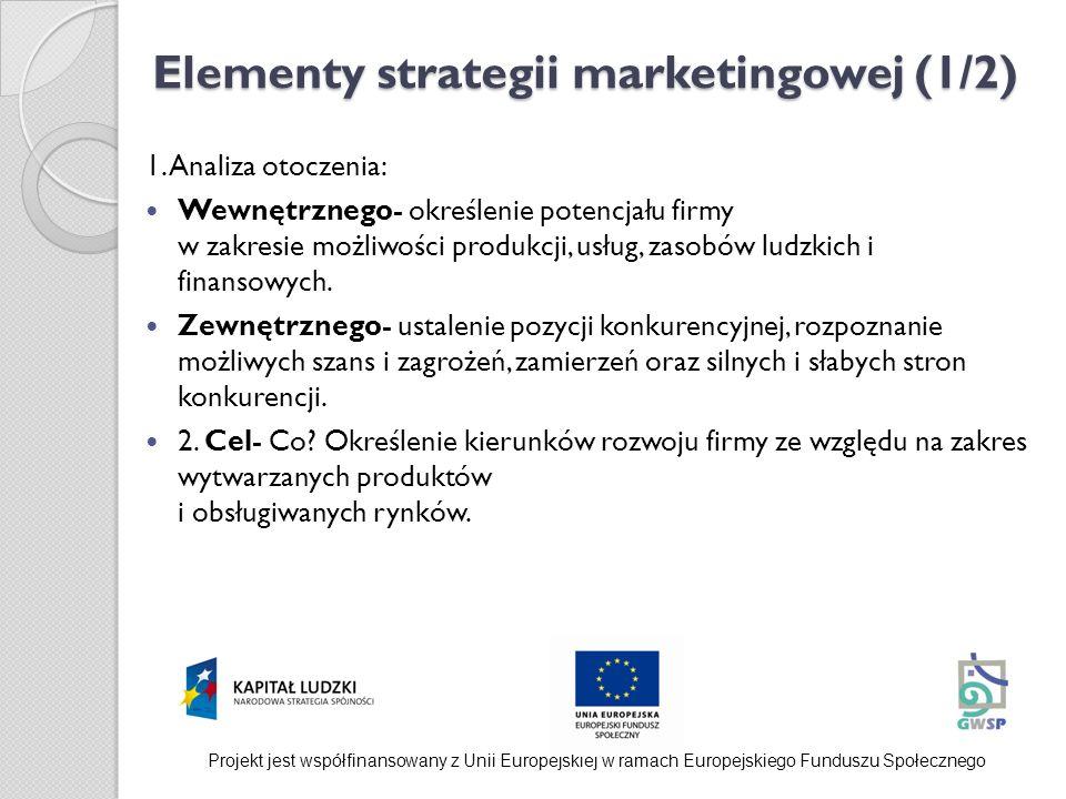 Elementy strategii marketingowej (1/2)