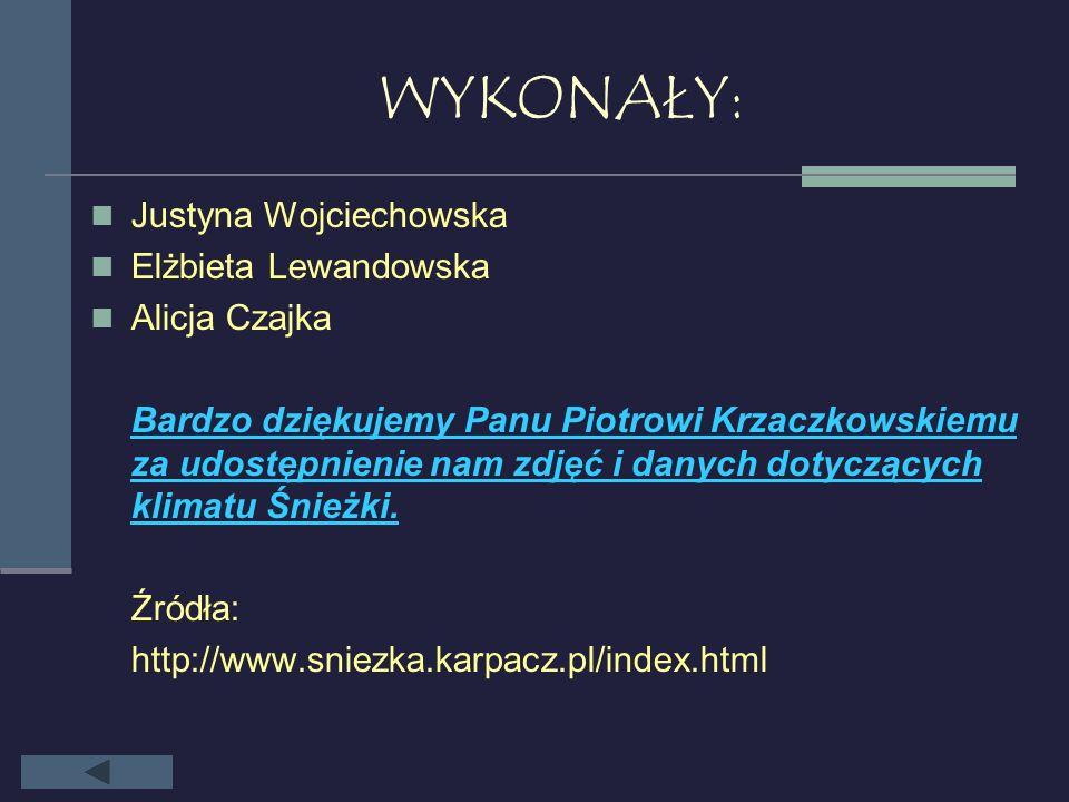 WYKONAŁY: Justyna Wojciechowska Elżbieta Lewandowska Alicja Czajka