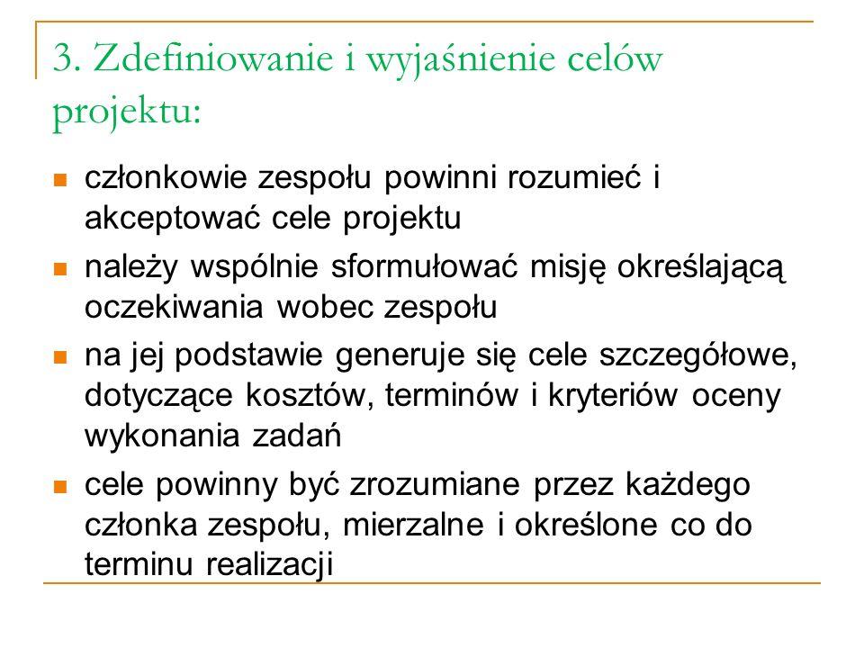 3. Zdefiniowanie i wyjaśnienie celów projektu:
