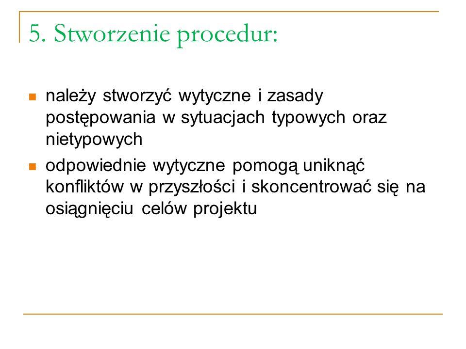 5. Stworzenie procedur: należy stworzyć wytyczne i zasady postępowania w sytuacjach typowych oraz nietypowych.