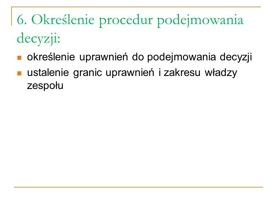 6. Określenie procedur podejmowania decyzji: