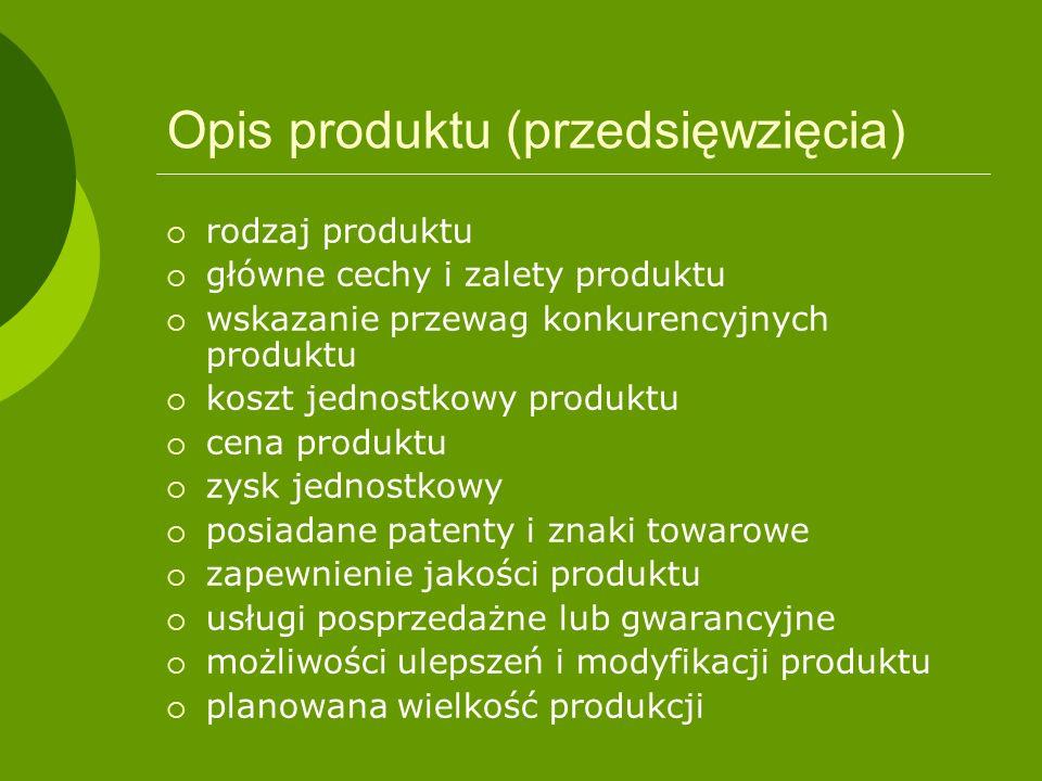 Opis produktu (przedsięwzięcia)