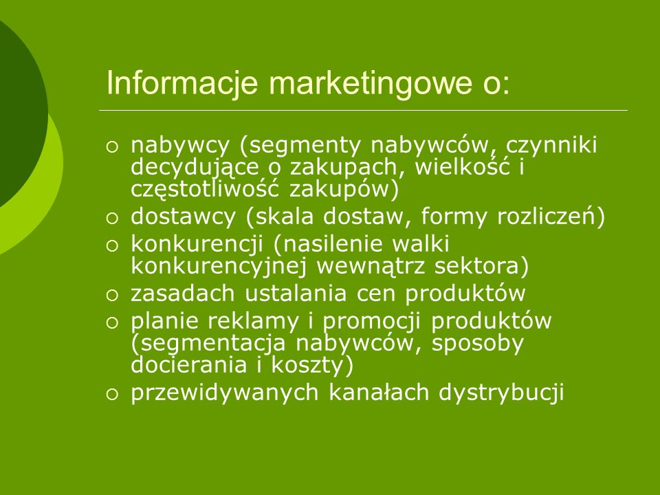 Informacje marketingowe o: