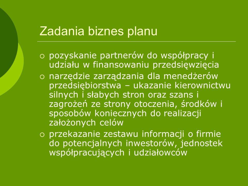 Zadania biznes planu pozyskanie partnerów do współpracy i udziału w finansowaniu przedsięwzięcia.