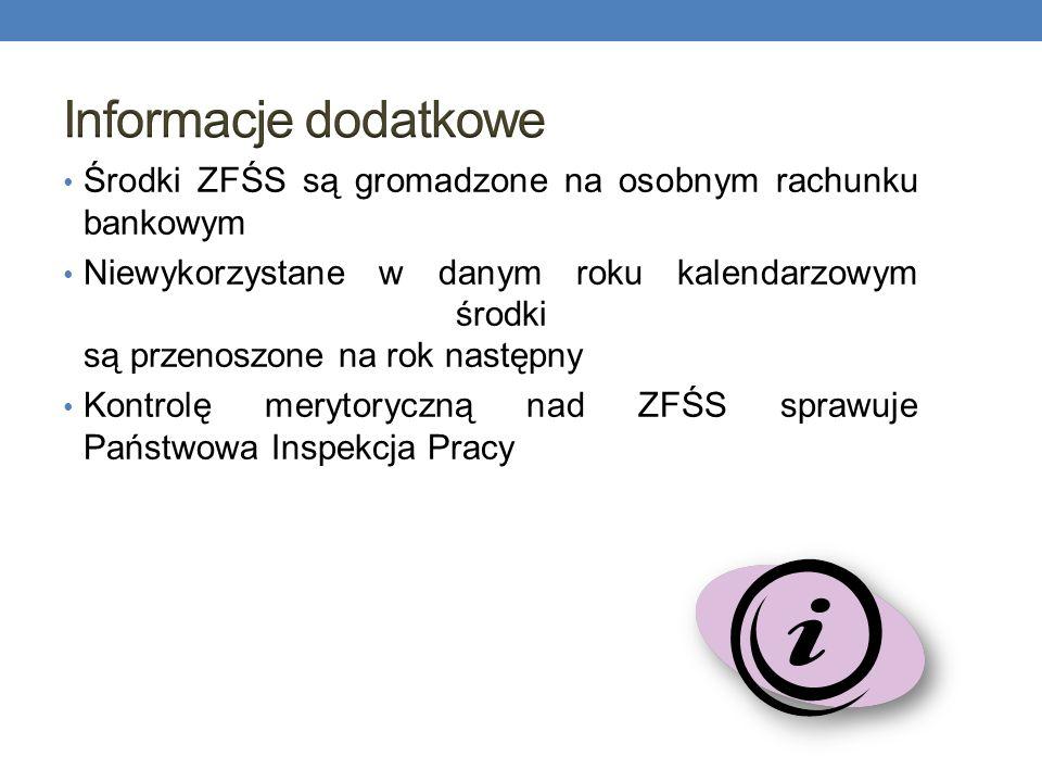 Informacje dodatkoweŚrodki ZFŚS są gromadzone na osobnym rachunku bankowym.
