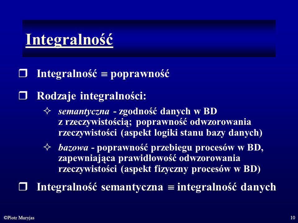 Integralność Integralność  poprawność Rodzaje integralności: