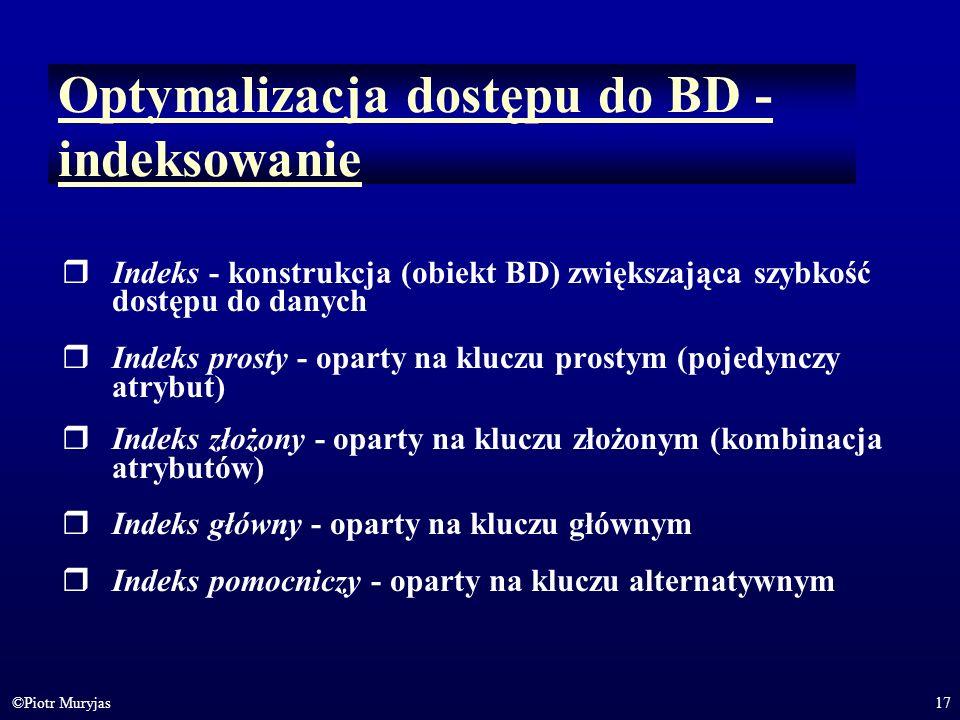 Optymalizacja dostępu do BD - indeksowanie