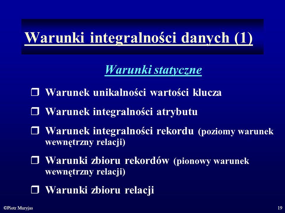 Warunki integralności danych (1)
