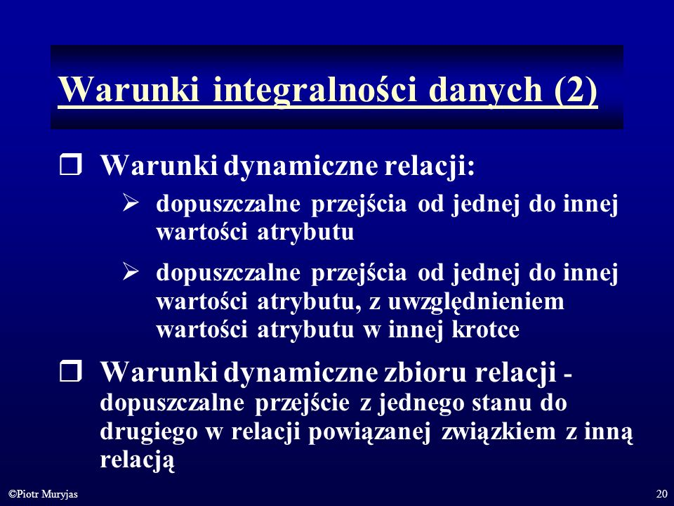 Warunki integralności danych (2)