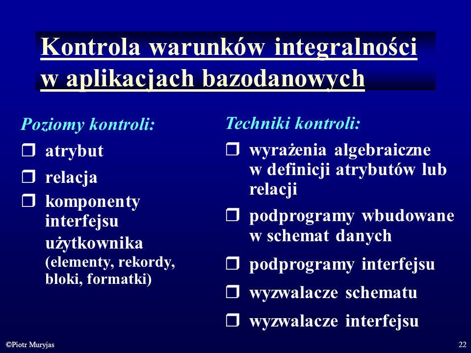 Kontrola warunków integralności w aplikacjach bazodanowych
