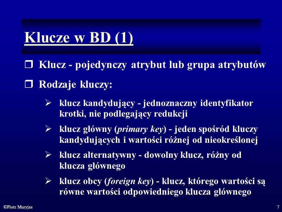 Klucze w BD (1) Klucz - pojedynczy atrybut lub grupa atrybutów