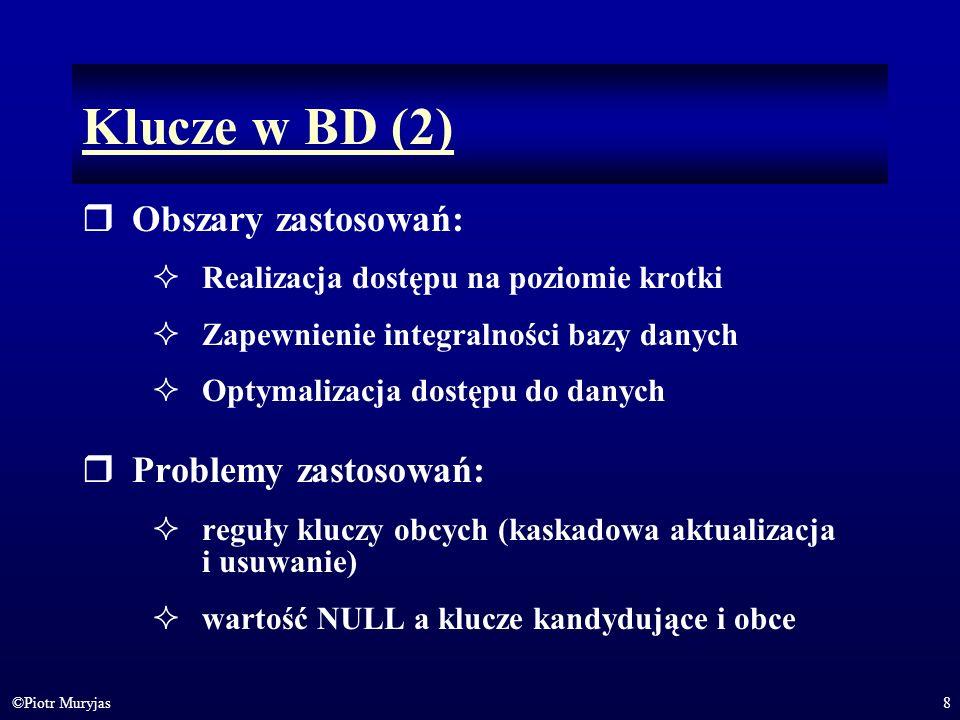 Klucze w BD (2) Obszary zastosowań: Problemy zastosowań: