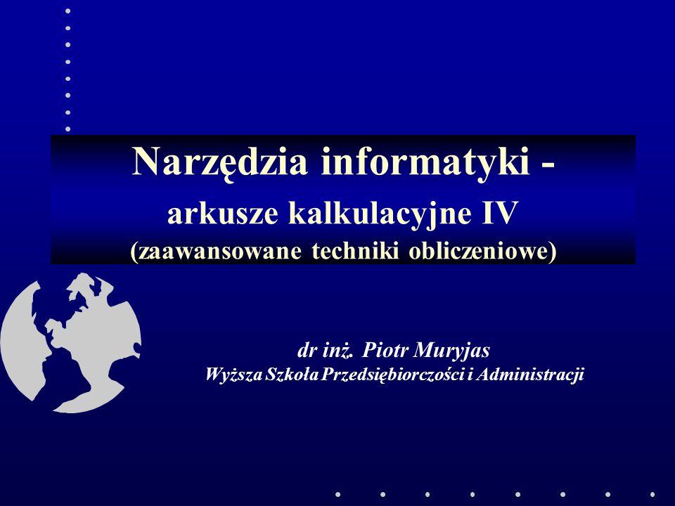 dr inż. Piotr Muryjas Wyższa Szkoła Przedsiębiorczości i Administracji