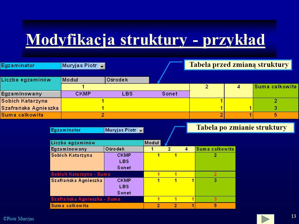 Modyfikacja struktury - przykład