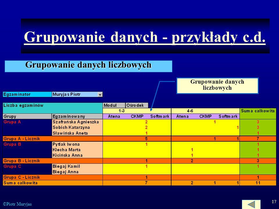 Grupowanie danych - przykłady c.d.